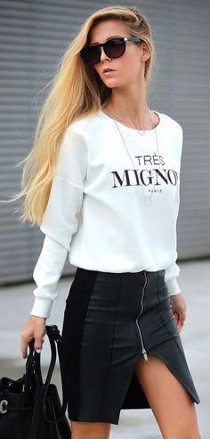#summer #fashion / sweatshirt + leather skirt