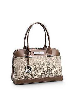 bd0bf88078d Calvin Klein logo jacquard dome satchel shoulder bag handbag brown