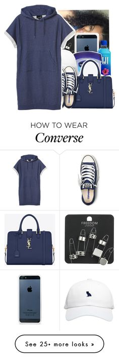 """Back"" by swaggerkayla on Polyvore featuring mode, BlissfulCASE, Topshop, Therapy, Yves Saint Laurent, October's Very Own, Converse et Monki"