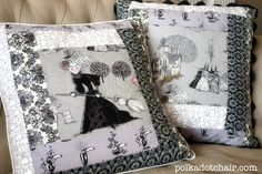 Quilted Ghastly Halloween Pillows - The Polka Dot Chair Plan: Make pillow covers (with opening) for decorative pillow for each holiday/season. Makes a quick switch-out with little storage space needed. Definitely include this cute pillow using a 'fussy cut' center with border log cabin style. Easy!!!