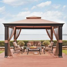 Take outdoor entertaining to a new level with the Tivering gazebo from Threshold. Made from rust-resistant steel, it comes with ground stakes for added stability. The durable polyester cover is made to stand up to the elements, and it has a top vent for increased circulation. Close the mosquito netting to keep out unwanted pests, or attach it to the corner posts for an effortlessly elegant look.