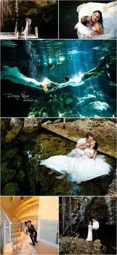 Underwater Wedding Bridal Engagement Anniversary Photo Shoot + Dreams Tulum