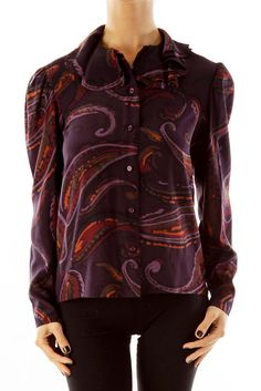 2e1f749612749 Vintage tops for the office purple paisley silk blouse by Albert Nipon