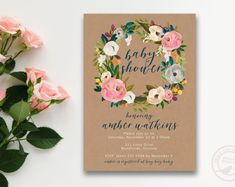 Floral Baby Shower Invitation | Floral Wreath Baby Shower invite | Painted floral Invite | Printable Baby Shower | Invitation 2811