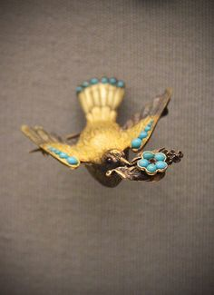 Bird with turquoise forget-me-not sprays signifying 'true love', English, mid 19c