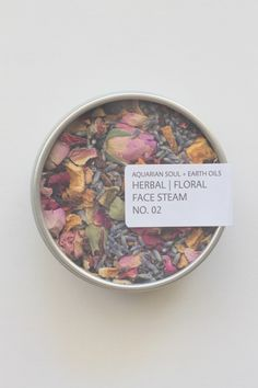 HERBAL | FLORAL FACE STEAM NO. 02 4 oz Tin  This combination of hydrating and calming herbs and flowers is the perfect  way to detox and clear your face. Just drop a small handful or large pinch  of these into a bowl of hot water and steam all the impurities out of your  pores.  To use this, simply pour a large bowl of very hot water, add in a small  amount of this mix and with a towel over your head lean over the steam and  wait 10 minutes. The steam should be at a comfortable ...