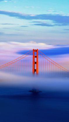 Golden Gate Bridge In Clouds Iphone Wallpaper Free – GetintoPik Cute Backgrounds For Iphone, Beautiful Wallpapers For Iphone, Hd Wallpaper Android, Hd Phone Wallpapers, 3d Wallpaper, Nature Pictures, Cool Pictures, Architecture Wallpaper, Scenery Wallpaper