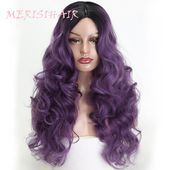 MERISI HAIR 24 inch purple long water wave wig female models black Ombre synthet... - #black #female #Hair #inch #long #merisi #models #ombre #purple #synthet #water #Wave #WIG Ombre Hair Color, Blonde Ombre, Purple Wig, New Hair, Hair 24, Hair Stores, Black Ombre, Bleached Hair, Synthetic Wigs