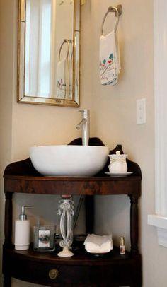 Corner sink/shelf