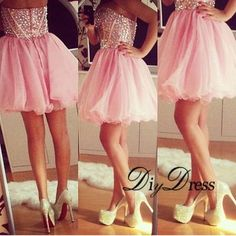 AHC171 New Arrival Sparkly Crystal Beaded Bodice Pink Organza Skirt Homecoming Dresses Strapless Short Prom Dresses