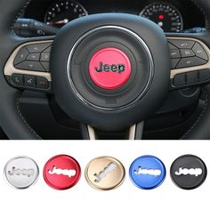 Sexy Car Styling Aluminium Steering Wheel Decorative Cover for Jeep Renegade/Cherokee/Grand Cherokee 5 Colors