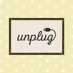 Unplug. Text Cross Stitch PDF Pattern by andwabisabi on Etsy