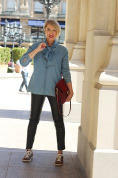 A fashion blog for women over 40 and mature women  Blouse + Leather-Pants: Wenz Sneakers: Isabell Marant Bag: Chloé Faye