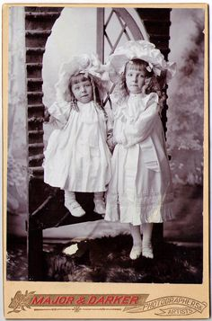 vintage portrait: little girls in white, from england