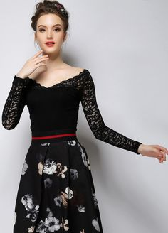To find out about the Black V Neck Long Sleeve Lace Slim Blouse at SHEIN, part of our latest Blouses ready to shop online today! Dress Skirt, Lace Dress, Dress Up, Long Sleeve Peplum Top, Lace Tee, Black Lace Tops, Lace Collar, Blouse, High Waisted Skirt