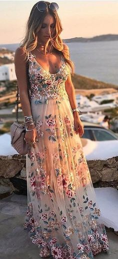 #fall #outfits white and pink floral scoop-neck dress INCREDIBLY BEAUTIFUL!! - LOVE THE FLOWERS, SCATTERED ALL OVER THE BEAUTIFUL FABRIC!!