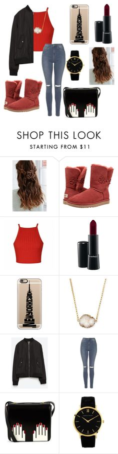 """""""Red Chick"""" by fleekonfashion12 ❤ liked on Polyvore featuring UGG Australia, Ally Fashion, MAC Cosmetics, Casetify, Jules Smith, Zara, Topshop, Lulu Guinness, Larsson & Jennings and women's clothing"""