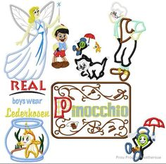 Wooden Boy Puppet NINE Design SET  Machine Applique Embroidery Designs, Multiple sizes including 4 inch