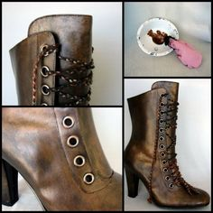 Black boots + Metallic Rust paint rubbed on a thin, uneven coat with a paint rag -- I wanted the boots to look worn and battle weary. If you do this, ...