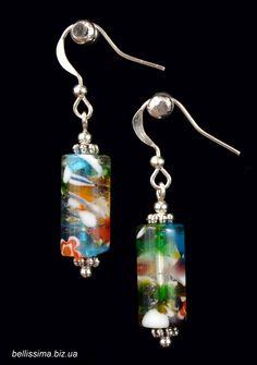 "Серьги ""Радуга"" Handmade jewelry, lampwork earrings"