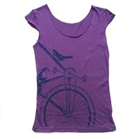 Sparrow Bike Women's Scoop Neck TShirt available in plum or gray