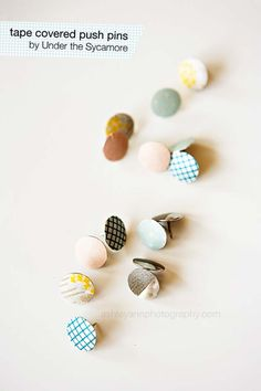 Washi Tape Crafts - Washi Tape Covered Push Pins - DIY Projects Made With Washi Tape - Wall Art, Frames, Cards, Pencils, Room Decor and DIY Gifts, Back To School Supplies - Creative, Fun Craft Ideas for Teens, Tweens and Teenagers - Step by Step Tutorials and Instructions http://diyprojectsforteens.com/washi-tape-ideas