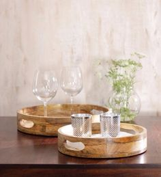 Round wooden finish wooden trays