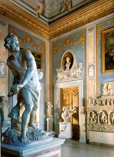 Galleria Borghese interior , David of Gian Lorenzo Bernini , Rome , Italy