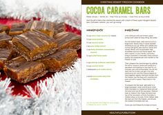 "Cocoa Caramel Bars And A Review of the ""Christmas Dessert Freedom Cookbook"""