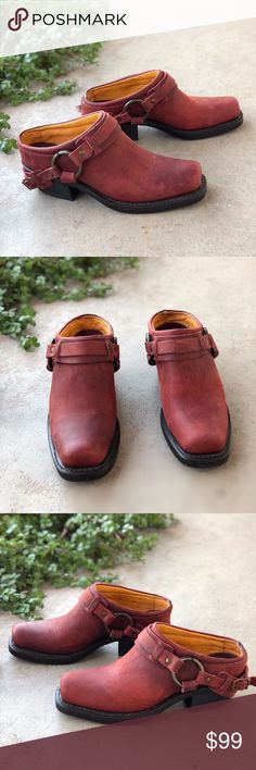 8a3ece0f43d Red Frye Belted Harness Mules Booties Amazing and rare red Frye mules clogs  with squared