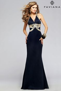 Neoprene v-neck with sequin and cutouts #Faviana Style 7703 #PromDresses