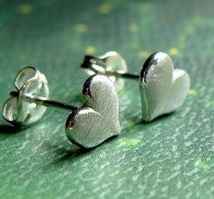 Brushed Heart Sterling Silver Stud Earrings by phoebestreasure, $15.00