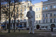 statue of Maximilian J.G.vonMontegas(SCF8116-2.jpg - The aluminium statue of Maximilian Josef Graf von Montegas in Promenadeplatz in Munich.Montegas was a statesman serving between 1799-1817 in Bavaria and the statue was installed in 2005.the sculptor is Karin Sanders.