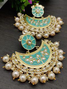 Order via Whatsapp on or visit ArtistryC.in - Earrings, Necklace & Rings - dekoration Indian Bridal Jewelry Sets, Indian Jewelry Earrings, Jewelry Design Earrings, Ear Jewelry, Coral Jewelry, Bridal Accessories, Antique Jewellery Designs, Fancy Jewellery, Stylish Jewelry