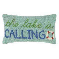 Peking Handicraft Lake Hook Wool Lumbar Pillow