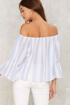 Sherwood Striped Off-the-Shoulder Top - Clothes | Blouses