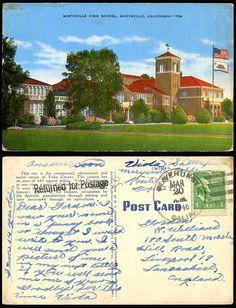 marysville, ca   ... Postcard Marysville High School Marysville California US Flag for Sale