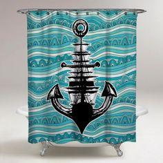 Custom Anchor Ship Custom Wave Best Design Shower Curtain