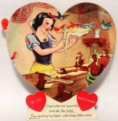 J1495 1938 Walt Disney Snow White-Vintage Mechanical Diecut Valentine Card
