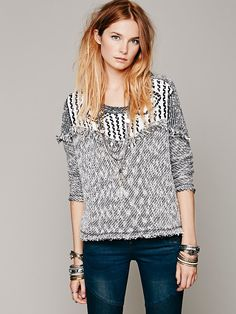 Free People Seeing In Black And White Pullover at Free People Clothing Boutique