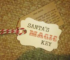 Santa s Magic Key - Tag only Vintage + Twine + Poem Traditional Cream Kraft Red