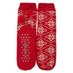 """Campri"" Red Snowflake Slipper Socks - TK Maxx (Women) Slipper Socks, Slippers, Tk Maxx, Snowflakes, My Design, Red, Women, Fashion, Moda"