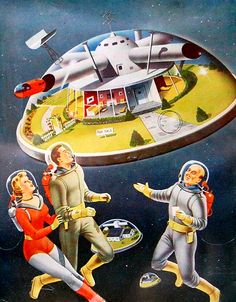 Outer Space Real Estate, art by Alex Schomburg - detail from December 1953, Science Fiction Adventures magazine.