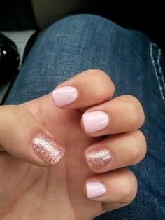 Neutral nails with pink sparkle nails for wedding, neutral wedding nails, neutral gel nails Pink Sparkle Nails, Fancy Nails, Love Nails, Pretty Nails, My Nails, Gold Glitter, Pink Tip Nails, Pink Pedicure, Glitter Accent Nails