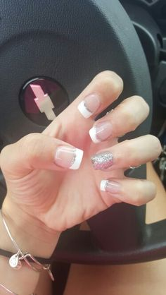Prom nails silver accent with French tip