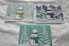Challenge, make 3 cards with same image, using same model. Christmas Cards, Christmas Tree, Penny Black, Tim Holtz, Homemade Cards, Challenge, Stamp, Model, How To Make