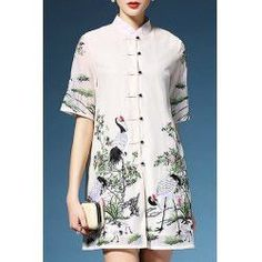 Casual Mandarin Collar Crane Embroidered Single-Breasted Dress For Women