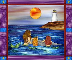 Lighthouse and Mermaids Decorative Window Film