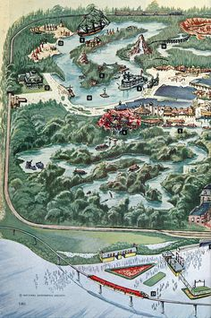 """Panel 1 from a Disneyland map from the Aug 1963 National Geographic feature article """"The Magic Worlds of Walt Disney"""""""