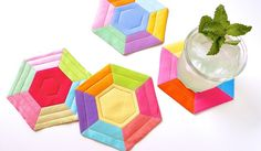 Ultimate Summer Coasters #howto #diy EPP pattern from Craftypod